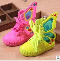 Wholesale Children s shoes high girls help canvas shoes in tube single boots wings fan ye with children s casual shoes pair
