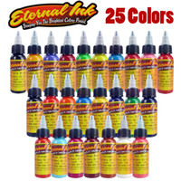 25pcs/ set 1.35kg Zhejiang, China (Mainland) New Tattoo Ink 25 Colors Set 1 oz 30ml Bottle Tattoo Pigment Kit