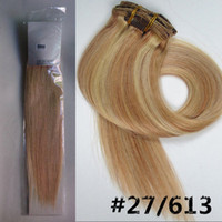 Wholesale g pc pc set light blonde human hair brazilian hair clips in extensions real straight full head high quality