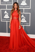 Wholesale 2014 New th Grammy Awards Red Carpet Evening Dresses Red Criss Cross Strap Long Prom Gowns Chiffon Pageant Dress