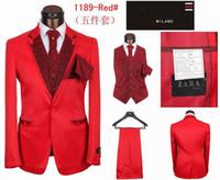 Wholesale suits for men red Suit pieces Jacket Pants Vest Tie Handkerchief mens wedding tuxedo Fashion handsome men prom suits