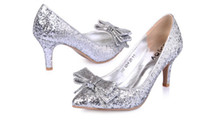 Formal Pumps Kitten Heel 2014 Newest Wedding Shoes Glitter Silver Gold Sequins Bow Party Prom Bridesmaids Shoes EM01432