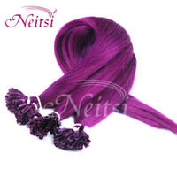 Wholesale 100 Human Hair Extensions Purple Nail U Tip Human Hair quot s Silky Straight Brazilian Pre Bonded Virgin Human Hair Weaves Ponytail