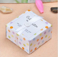 Wholesale EMS Sets Cute As a Button in the Nest Scented Soap with bowknot for wedding festival party Decoration