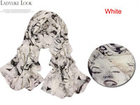 Wholesale On sale Sexy Women Marilyn Monroe Graffiti Print Chiffon Scarf Shawl Wrap cm cm Summer Beach Towel
