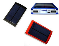 Wholesale Brand New Full mAh Solar Power Panel USB External Mobile Battery Charger Power Bank Black Silver Red Blue