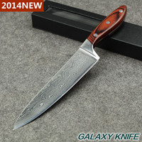 high quality knives - 2014 new layers High quality Japanese VG10 Damascus steel quot kitchen chef knife with Colour wood handle