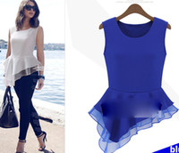 Sleeveless Chiffon  2014 New Fashion European Style Women's Chiffon Blouses Sleeveless Irregular Bottom Fill Lady Chiffon Tops Blue White M L XL XXL ecc1311