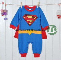 Wholesale Retail boys Romper Superman Long Sleeve Baby Dress Smock Infant Romper Halloween Costume