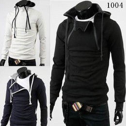 Wholesale 2014 New Men s Leisure Sweatshirt Hoodies Cotton Blended Long Sleeve Stand Collar Long Sleeve Pullover Men s Colors Sweatshirts E245