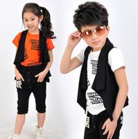 capri pants for girls - 3 Set For Boy And Girl Short Sleeve Casual Capri Pant Set Vest Top Pant Kids Set Colors Size Sets T0421