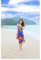 Wholesale Bohemia style bikini wrap women beach cover up floral sarong ladies swimwear summer swimsuit beachwear