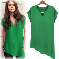 Short Sleeve Chiffon  2014 Plus Size New Fashion European Style Women's Chiffon Blouses Elegant Sexy Cut U Neck Lady Chiffon Tops 5 Colors M L XL XXL ecc1314