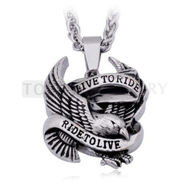 Teboer Jewelry 3pcs LOT Live to Ride Ride to Live Eagle Pendant 316 Stainless Steel MEP712