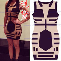 Casual Dresses Round Sheath Hot Sale New Women Celebrity Midi Bodycon dress, sleeveless sexy party bandage dress, See Through club Print Dress