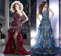 Reference Images One-Shoulder Taffeta Gorgeous custom made peacock applique prom dresses sexy side slit backless ruffles one shoulder court train formal evening gowns 14366