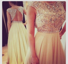 2018 Elegant Floor Length Pageant gowns Evening Gown Sequins Beaded Cap Sleeve Champagne Chiffon Prom Dresses