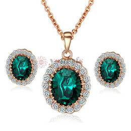 Yoursfs Luxury Crystal Banquet Jewelry Sets 18 K Rose Gold Plated Used Emerald Color Crystal Loveless Fashion Brilliant Jewelry Sets S413R6F