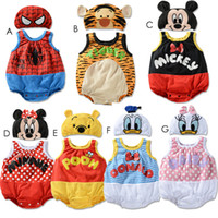Wholesale 2014 baby cartoon cool design rompers with hats spiderman tiger jumpsuits bodysuits GD3434