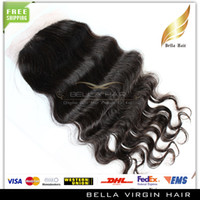Brazilian Hair Natural Color Body Wave Hair Pieces Silk Base Closure 100% Unprocessed Brazilian Virgin Hair Human Hair Closure Natural Color Body Wave Wavy Silk Base Top Closures