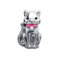 Wholesale 20pcs Origami Owl Cat with Pink Collar Floating Charms For Glass Lockets