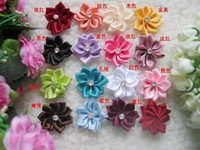 Wholesale 40pcs Satin Ribbon Bows Flowers For Appliques Wedding Party DIY Craft