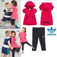 Unisex Spring / Autumn Long Retail girls dresses+pants suits children kids fashion boys T-shirts+pants sets clothes clothing
