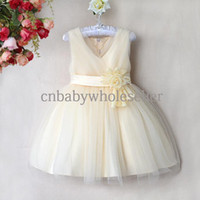 Wholesale 2014 Newest Designer Girl Wedding Dresses Beige Cotton And Polyester Dress With Flower And Gauze Hem Party Dress Kids Clothes GD40418