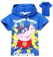 Unisex Summer Standard Retail 2014 new boys girls hooded shirt Peppa Pig T-shirt children Clothes kids tees clothing