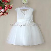 al por mayor vestido de partido de la flor blanca del verano-Vestido de color sólido del V-cuello de la manera del vestido de partido de los bebés de la alta calidad de 8 colores con el vestido GD40418-12 del verano del marco de la flor