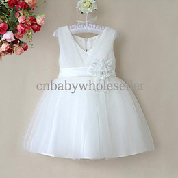 8 Colors High Quality Baby Girls Party Dress Fashion V-neck Solid Color Dress with Flower Sash Summer White Dress GD40418-12