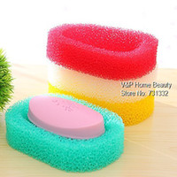 Soap Dishes Yes TB8545 10 pcs lot Colored PU sponge Soap dish Bathroom accessories Soap shelf Holder Zakka home decoration Novelty household items 8545