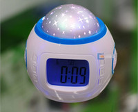 Wholesale Music Alarm Clock Starry Star Sky Projection Calendar Thermometer Clock Digital Clock Night Light Projector Lamp DHL