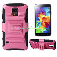For Samsung Plastic  Hybrid Tough Heavy Duty skin Soft Rubber Hard Kickstand cover case cases for Samsung Galaxy S4 I9500 S5 I9600 Note 3 Note3 N9000 5PCS 10PCS