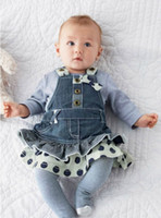 Girl Spring / Autumn Long Girls Suits 2014 Infant Clothes Comfortable Underwear Bow Ties Suspender Multilayer Denim Fabric Skirt Affordable 8207