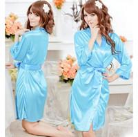 Regular bathrobes - Women s translucent faux silk sexy sleepwear spring and autumn robe plus size bathrobe lace underwear nightgown temptation