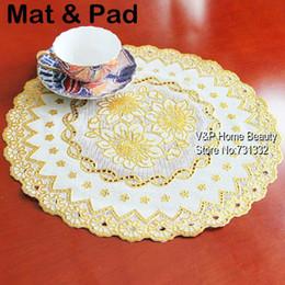 Wholesale Gold paper Coaster Bronzing Crochet Doilies Embroidery lace flower Cup Mat Kitchen accessories Tea Placement Novelty zakka