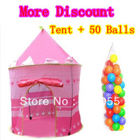 5 to 7 Years Unisex cloth Princess Pink Child Tent + 50 Ocean Balls Kids Game House Wave Balls Indoor And Outdoor Play Tent ,Christmas Gift