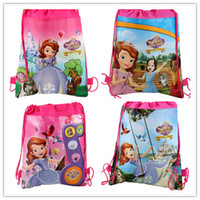 Wholesale sofia the first drawstring bags frozen Anna Elsa peppa pig backpacks kids handbags children s school bags all design mixed hot sale