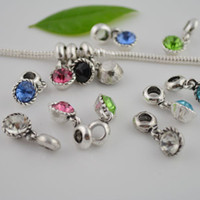 Wholesale 100pcs Mixed Color Rhinestone Crystal Dangle European Bead Fit Charms Bracelet