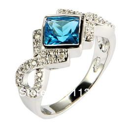 Aigue-marine CZ anneau pour dame de mariage en or blanc cadeau à partir de bague en or aquamarine fournisseurs