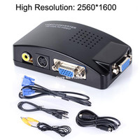 Wholesale 2560 Resolution Computer Laptop PC VGA To TV AV RCA S Video Converter Adapter Box Composite Black