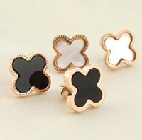 Wholesale Newest Clover L Titanium steel White or Black Shell woman s stud charm earrings rose gold plated