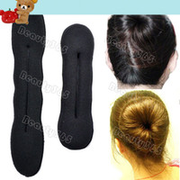 Wholesale 2014 L S Styling Magic Sponge Hair Roller Pure Knitted Nylon Hair Bun Donut Hair Accessories