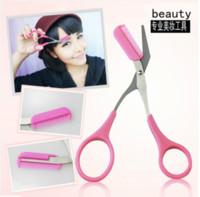 Wholesale new style Korean eyebrow scissors with a small scissors Eyebrow makeup eyebrow comb artifacts pink