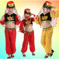 Wholesale 2014 NEW Fashion Girls Indian Belly Folk Dance Clothes Children s Dancewear Performance Clothes Modern Ballet Latin Dance Stage Costume