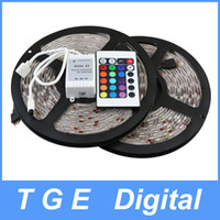 Wholesale 5M SMD LED Strip Rope Light Epistar Waterproof amp Non Waterproof LED M RGB Color Light with Keys Keys Remote Controller
