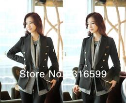 Wholesale Three Colors New Elegant Fashion Double Breasted OL Style Long Sleeve Jacket Coat Ladies Blazer WM014