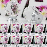 Ceramic Furniture Handle & Knob TK0736# 8 Pcs 30mm White Glass Crystal Cabinet Drawer Knob Kitchen Pull Handle Door Wardrobe Hardware Cupboard Knob TK0736