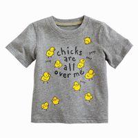 Boy boys t-shirt - Boy T shirts Kids Clothes Chicks Gray Cartoon Cotton Short Sleeve T shirts For Boy